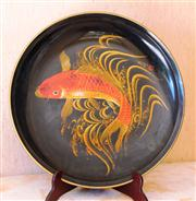 Sale 8250 - Lot 14 - A Japanese Lacquered Tray, c 1950,  centred by a large figure of a carp