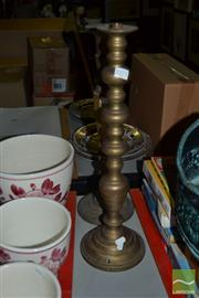 Sale 8283 - Lot 67 - Brass Turned Lamp Base with Another Example