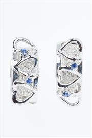 Sale 8315 - Lot 380 - A PAIR OF 18CT WHITE GOLD DIAMOND EARRINGS; hoops with front panels each pave set with 42 round brilliant cut diamonds to heart desi...