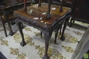 Sale 8338 - Lot 1424 - Carved Imbuia Occasional Table with Glass Top on Ball & Claw Feet