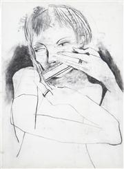 Sale 8410A - Lot 5042 - Anne Hall (1945 - ) - Untitled (Harmonica Player) 76.5 x 56cm (sheet size)