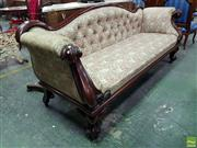 Sale 8559 - Lot 1036 - Victorian Carved Mahogany Settee, with serpentine back upholstered in floral fabric & raised on cabriole legs