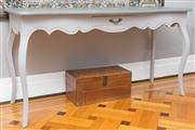 Sale 8575H - Lot 54 - A painted timber side table in the French taste with single frieze drawer on cabriole legs H: 80cm W: 150cm D: 52cm