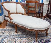 Sale 8649A - Lot 70 - A Louis XV style carved walnut duchesse brisée, upholstered in cream floral fabric with cabriole legs, H 85 x W 168 x D 68cm