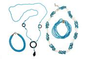 Sale 8703 - Lot 317 - TURQUOISE NECKLACES AND BRACELETS; 2 reconstituted turquoise bracelets, 6 strands with 18ct clasp other with silver clasp, and neckl...