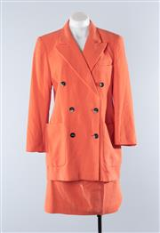 Sale 8800F - Lot 72 - An Escada by Margaretha Ley angora wool blend double breasted blazer with matching skirt in apricot, both approx size 40