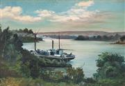 Sale 8892A - Lot 5082 - Artist Unknown - Moored Steamer 30 x 43 cm