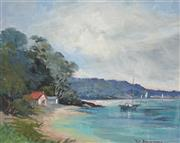 Sale 8914 - Lot 2024 - Pat Browning At Nelson Bayoil on board, 28 x 36cm, signed -