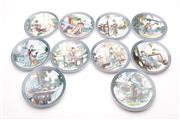 Sale 9027D - Lot 783 - A Collection of 12 Chinese Plates Decorated with Ladies in Garden Scene on Stands