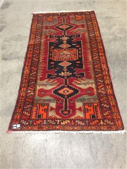 Sale 9126 - Lot 1237 - Red and orange tone runner (196 x 99cm)