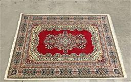 Sale 9166 - Lot 1091 - Dywilan pure New Zealand wool carpet in red and cream tones , with central medallion and surrounding border (240 x 170cm) some los...