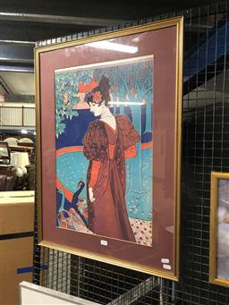 Sale 9163 - Lot 2013 - Louis Rhead Woman with Peacocks decorative print after original from Australian National Gallery, 80 x 59cm (frame)