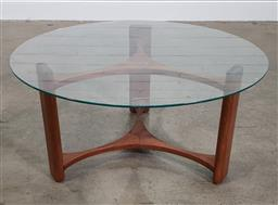 Sale 9188 - Lot 1154 - T. H. Brown coffee table with round glass top on timber base (h:42 x d:85cm)