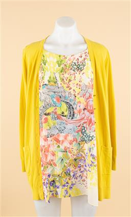 Sale 9250F - Lot 15 - A Roberto Cavalli bright floral and yellow cardigan blouse, size S.