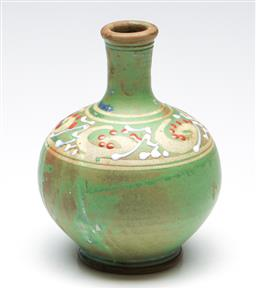 Sale 9253 - Lot 288 - A Stokes pottery vase with green glaze, marked to base (H:17cm)
