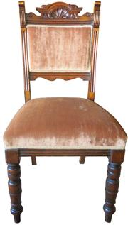 Sale 8258A - Lot 35 - Set of six Edwardian walnut chairs upholstered in cognac draylon, RRP $350 each