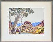 Sale 8286 - Lot 573 - Otto Pareroultja (1914 - 1973) - Central Australian Landscape 25 x 36cm