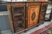 Sale 8291 - Lot 1001 - A Good Victorian Walnut and Marquetry Credenza with centre door with floral panel flanked by glass panel doors and pilasters, with m...