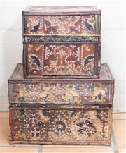 Sale 8550H - Lot 34 - A set of two graduated Balinese woven boxes with shell applied decoration, larger W 43 x H 26 x D 29cm