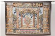 Sale 8575H - Lot 53 - A tapestry depicting a classical vignette with columns, flowers, cherubs, grapes, etc - including brass rod and finials H: 144cmR...