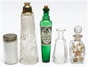 Sale 9054E - Lot 69 - Five glass perfume bottles including enamelled and etched for Yardley, Newton and others.