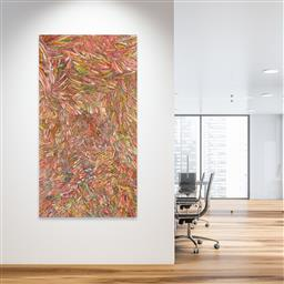 Sale 9098A - Lot 5050 - Jedda Purvis Kngwarreye (c1969 - ) - Bush Yam 200 x 108 cm (stretched and ready to hang)