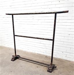 Sale 9126 - Lot 1110 - Japanese Timber & Black Lacquer Kimono Stand, with gilt floral details & engraved brass fittings (h150 x w184 x 35cm)