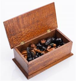 Sale 9185E - Lot 119 - A timber lift top box containing chess pieces, box Width 22.5cm