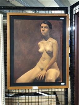 Sale 9172 - Lot 2050 - Joshua M. Seated Nude, oil on canvas on board, frame: 55 x 45 cm, signed upper left