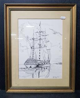 Sale 9208 - Lot 2090 - TED PHIILLIPSON - Sailing Ship, 1984 frame: 49 x 39 cm