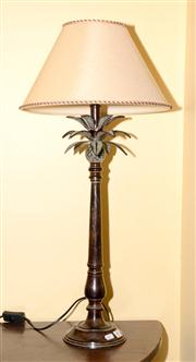 Sale 7997 - Lot 38 - A BRONZED PINEAPPLE FORM TABLE TAMP WTIH CLOTH SHADE H: 77CM