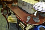 Sale 8093 - Lot 1538 - Timber 7 Piece Dining Setting incl. D-End Dining Table & 6 Upholstered Seat Chairs w Balloon Back