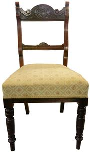 Sale 8258A - Lot 36 - Good set of six Edwardian walnut chairs, RRP $450 each