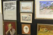 Sale 8332 - Lot 2053 - Group of (3) Assorted Artworks including framed hand coloured engraving, and (2) Decorative Prints.