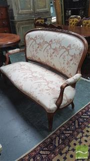Sale 8402 - Lot 1011 - Victorian Walnut Settee with Carved Back Raised on Cabriole Legs