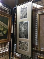 Sale 8726 - Lot 2019 - Trio of Original Etchings by Elizabeth Williams, 71 x 27 (frame size), signed lower left