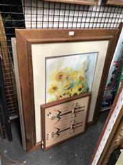 Sale 8816 - Lot 2030 - 3 Works: Avril Janout - Low Tide, watercolour, 52 x 66 (frame), signed, together with a Decorative Print and a Native American Mot...