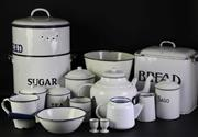 Sale 8952 - Lot 9 - Large Collection of Vintage Enamel Kitchenwares incl Storage Tins, Billy, Pan, Pail, Candlesticks etc