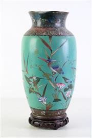 Sale 8952 - Lot 16 - Large cloisonne vase featuring birds, on stand (total height 35cm) with dents and restoration