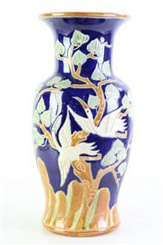 Sale 8985 - Lot 62 - A Large Glazed Bird Themed Potted Vase (Marked to Base (H 39cm)