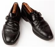 Sale 9080F - Lot 80 - A PAIR OF CHURCH BUCKLE UP DRESS SHOES; in black leather, Size 8.5 with buckle to side. (shoe last included)
