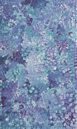 Sale 9096 - Lot 522 - Polly Ngale (c1936 - ) Bush Plum acrylic on canvas 153 x 94 cm (stretched and ready to hang) signed verso; certificate of authentici...