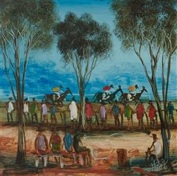 Sale 9109 - Lot 521 - Kevin Charles (Pro) Hart (1928 - 2006) Cup Day Races oil on board 19.5 x 19.5 cm (frame: 41 x 41 x 2 cm) signed lower right