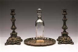 Sale 9110 - Lot 326 - Pair Silver Plated Candle Holders (H 31cm), Pewter & Crystal Decanter & Plated Presentation Platter (Dia 30cm)