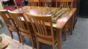 Sale 7944A - Lot 1018 - Pine Dining Setting inc Table & 6 Chairs