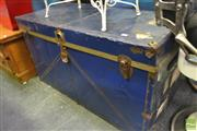 Sale 8277 - Lot 1025 - Large Blue Travelling Trunk