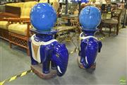 Sale 8312 - Lot 1049 - Pair of Blue Glazed Ceramic Elephants with Ceramic Blue Spheres