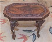 Sale 8368A - Lot 55 - A small Indian carved rosewood octagonal table on elephant supports, L 46cm