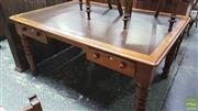 Sale 8375 - Lot 1011 - Late C19th Pine Desk, with two drawers and leather insert top