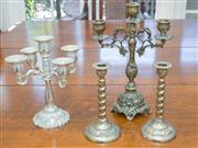 Sale 8402H - Lot 50 - A Dutch brass, three branch candelabrum, together with a pair of barley twist sticks, and a four branch EP candelabrum. Height 22cm.